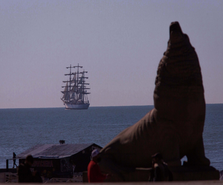 En fotos: la fragata Libertad llegó a Mar del Plata y fondeará en el mar hasta el domingo