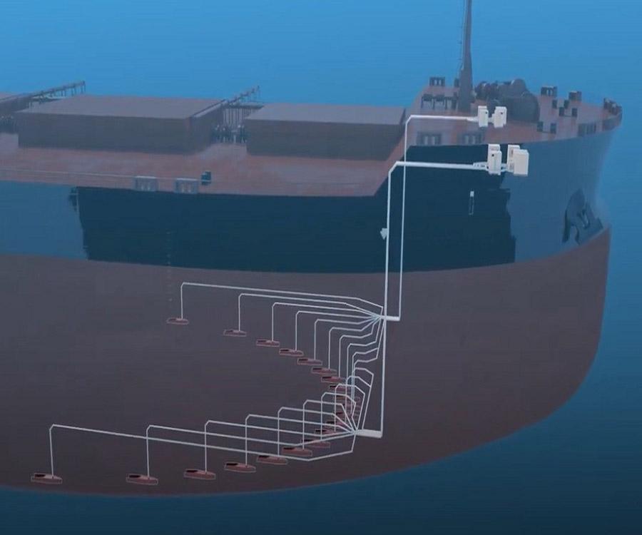 Vale recibe un barco que produce burbujas de aire en el casco para reducir las emisiones